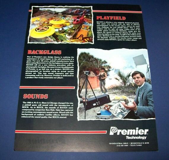 1986 PREMIER RAVEN PINBALL FLYER MINT