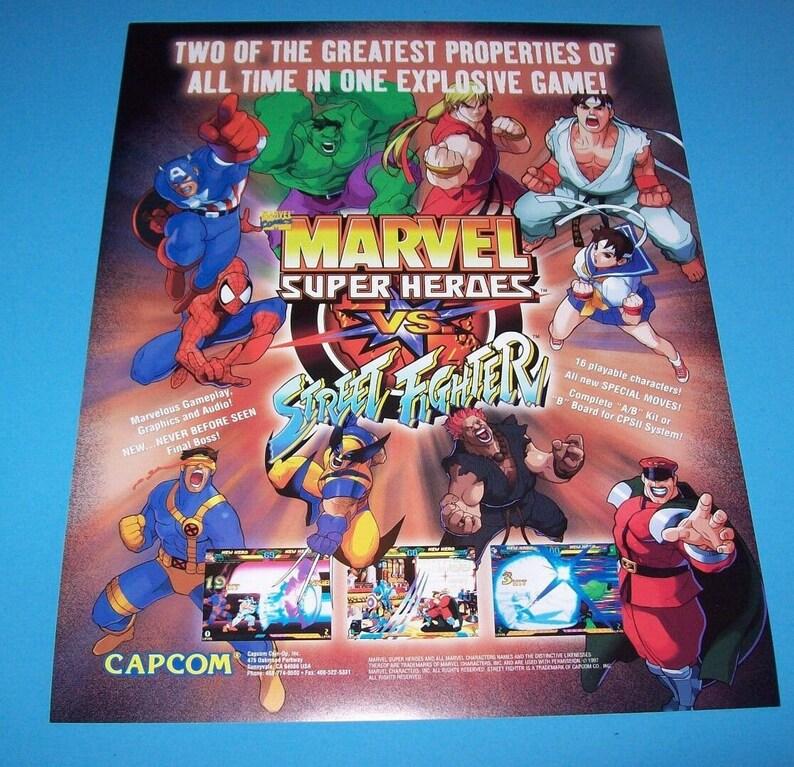 Capcom Marvel Super Heroes VS Street Fighter Arcade FLYER Game Art Print NOS