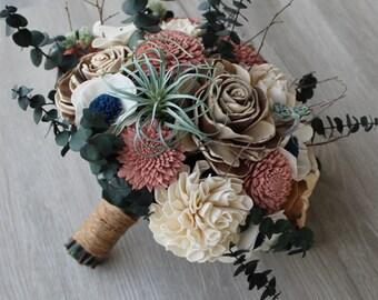Wood Flower Bouquet Coral Bouquet Sola Wood Flower Bouquet Customizable Sierra Collection