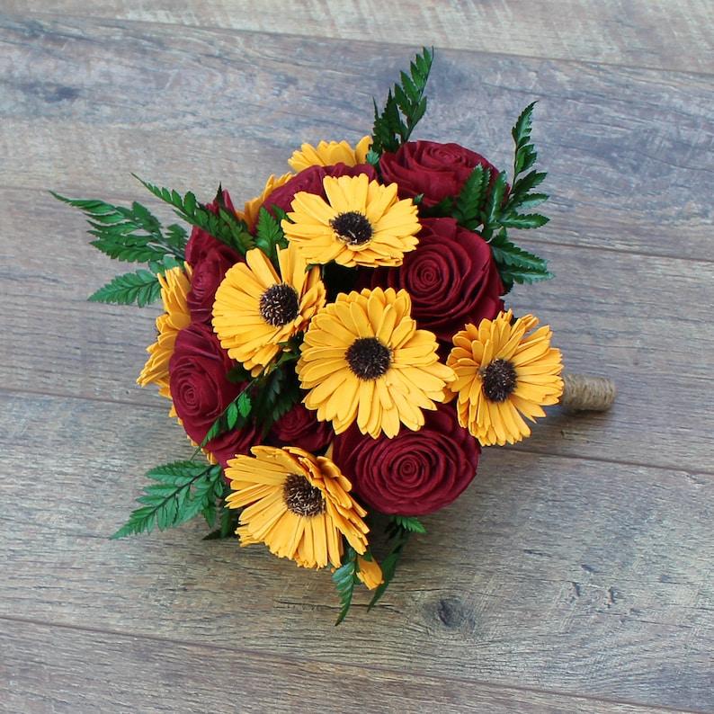 Sola Wood Flower Bouquet  Sunflower & Rose Wood Flower image 0