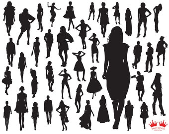 Svg files for cricut, Fashion models SVG cut file, Instant download, Girls silhouettes on whie background.