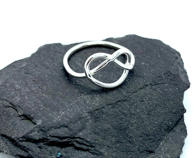 Sterling silver love knot ring infinity ring silver heart ring Celtic knot ring friendship ring dainty silver ring