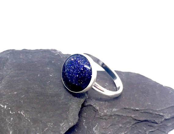 abstract ring Handmade ring with galaxy in dark blue golden ring with resin hemisphere in dark blue with 3D effect