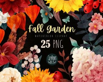 Watercolor Fall Floral Clipart. Autumn Flowers PNG. Instant Download. Watercolor Chrysanthemum, Dahlia, Hydrangea, Eucalyptus, Berries