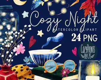 Watercolor Evening Clipart. Cozy night PNG. Instant Download. Watercolor Books, Glasses, Moth, Leaves, Led Lights, Candle, Tea Cup, Cookies
