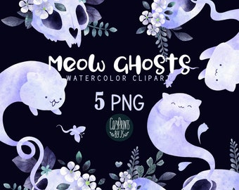 Watercolor Cats Ghosts Clipart. Kawaii Clipart PNG. Instant Download. Cute Cat Skulls, Ghosts, Creepy Clipart, Premade Design