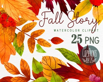 Watercolor Autumn Leaves Clipart. Fall Woodland PNG. Instant Download. Watercolor Leaves and Berries, Autumn Clipart.