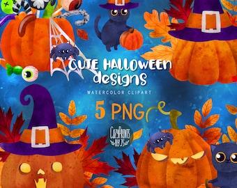 Watercolor Halloween Clipart. Kawaii Clipart PNG. Instant Download. Cute Jack Lanterns, Halloween Design, Black Cat, Halloween Candies
