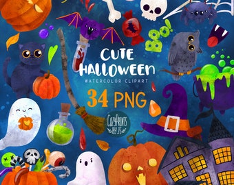 Watercolor Halloween Clipart. Kawaii Clipart PNG. Instant Download. Cute Jack Lanterns, Ghosts, Spooky House, Bat, Witchy Clipart