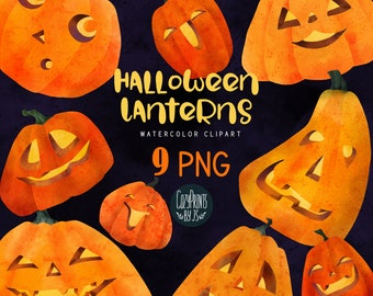 Watercolor Halloween Jack O Lanterns Clipart. Kawaii Clipart PNG. Instant Download. Cute Jack Lanterns, Halloween Design