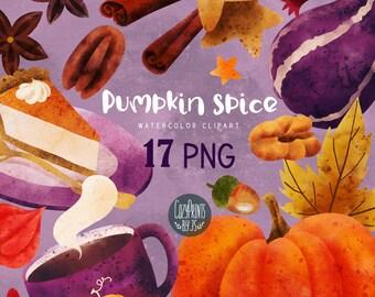 Watercolor Pumpkin Spice Clipart. Pumpkin Pie PNG. Instant Download. Watercolor Mug, Nuts, Pumpkins, Anise Stars, Autumn Clipart.