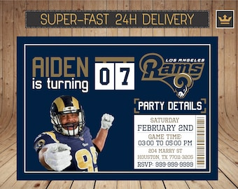 Los Angeles Rams Invitation Aaron Donald Party Birthday Printable Invite Custom