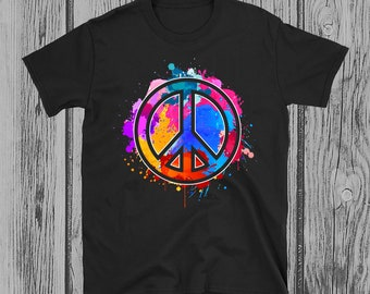 0ffd541227be Tie Dye Flowered Peace Sign Graphic Hippie T-Shirt - Short-Sleeve Unisex T- Shirt