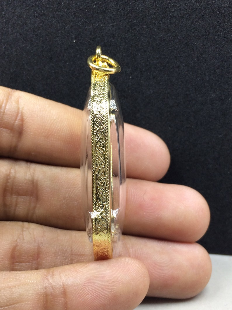 Buddha Pendant Phra 25 th Aniversay Buddha Standing  Prang Leela Thai Amulet Good Luck Fortune Success Trade Talisman Gold Casing Pendant