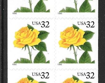 Quantity of 20 32c 20 Yellow Rose Stamps Vintage 1996 Unused Postage