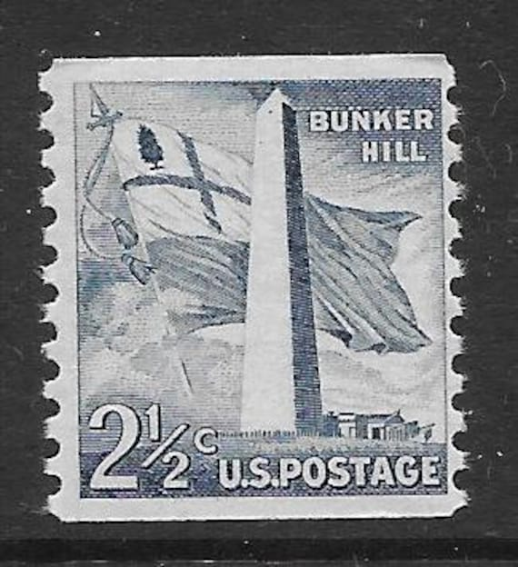 The Battle of Bunker Hill and the stamp issued to honor the Bunker Hill Monument