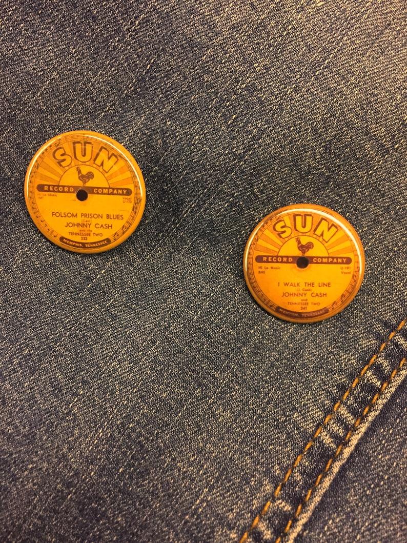 b6730720f07 Johnny Cash & I Walk the Line and Folsom Prison Sun record label pin /  button 1.25