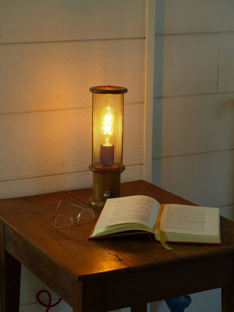 Lamp Edison vintage led style safety lamp in the muffler and grid design steel turned oak plinth