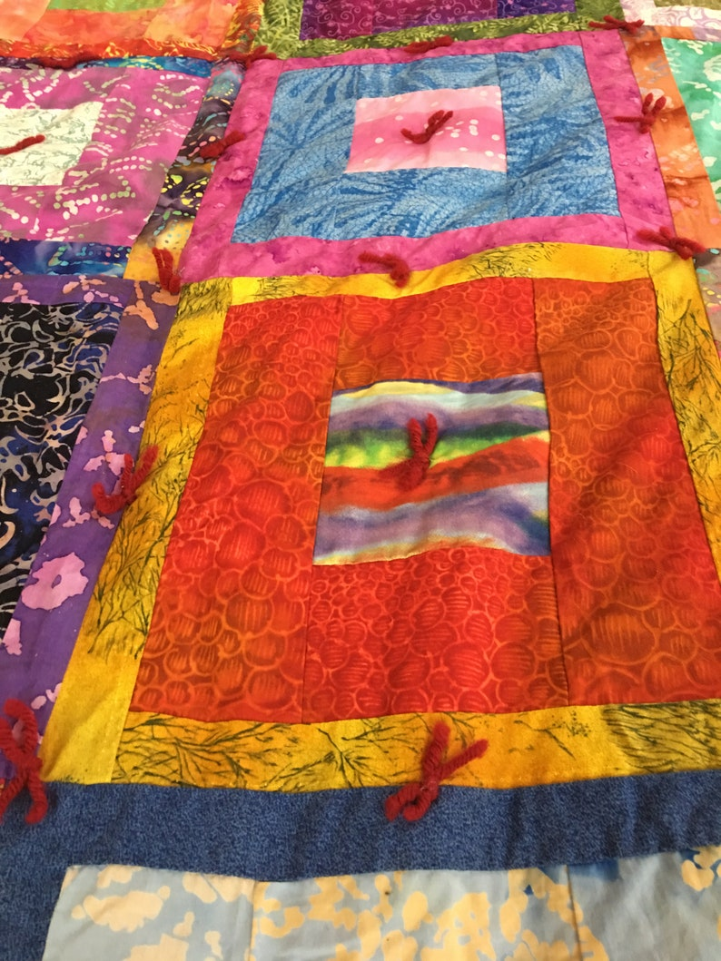 King Size Multicolor tied squares wsolid blue backing Batik Quilt 88in x 105in