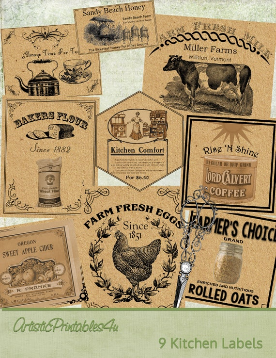 9 Vintage Kitchen Labels, Digital Printable Country Farmhouse Labels,  Farmhouse Kitchen Decor, Instant Download, Vintage Ephemera