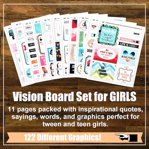 Vision Board Set for Girls, Affirmation Cards, Kids Yoga Lesson Plan, Teacher Printable, Yoga, Goal Setting, Dream Board Kit