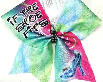13837acfbed617 If The Shoe Fits Pricess Glitter Cheer Bow