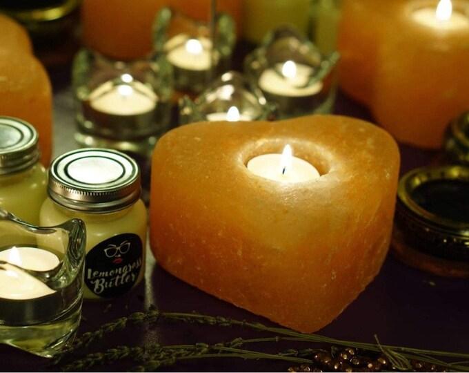 Heart Pink Salt Candleholder