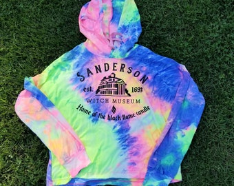 Halloween Sanderson Sisters Witch Museum Hocus Pocus Home of the Black Flame Candle Neon Tie Dye Pull Over Long Sleeve Hooded Shirt
