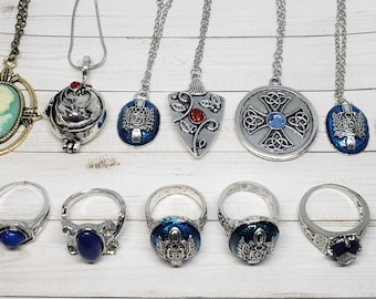 The Vampire Diaries Inspired Costume Jewelry, Daylight Ring, Vervain Locket Necklace, YOU CHOOSE