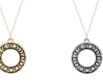 Round Moon Phase Pendant Necklace, Waning Crescent Quarter Full, You Choose Color- Gold- Silver