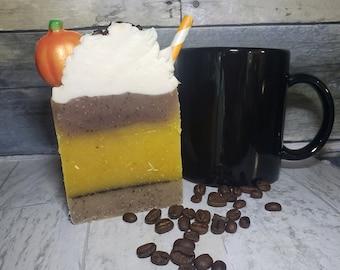 Espresso Pumpkin Spice Latte Cold Process Artisan Handcrafted Bar Soap, Pumpkin Coffee Bean Top Paper Straw