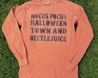 Hocus Pocus Halloweentown Beetlejuice Orange Halloween Movie Lover Long Sleeve Shirt