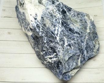 3.4 LB (Pounds) Raw Rough Large Chunk Sodalite from Brazil, feldspathoid mineral