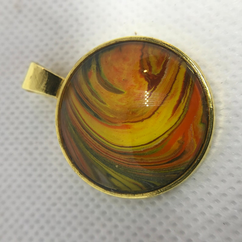 Acrylic Pour Fluid Art Necklace Pendant