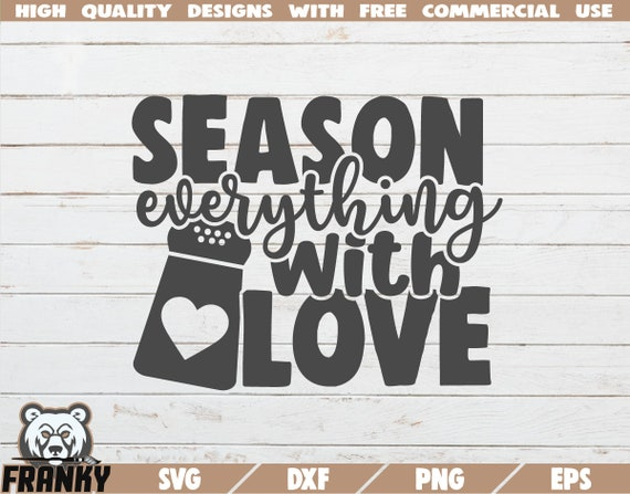 this kitchen is seasoned with love svg  kitchen svg  instant download  cooking printable vector  apron design  kitchen decoration towel