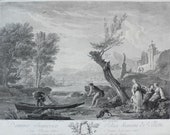 18th Century, Seascape view of a Boat Antique oil Painting Print, after Landscape Painting by French Painter