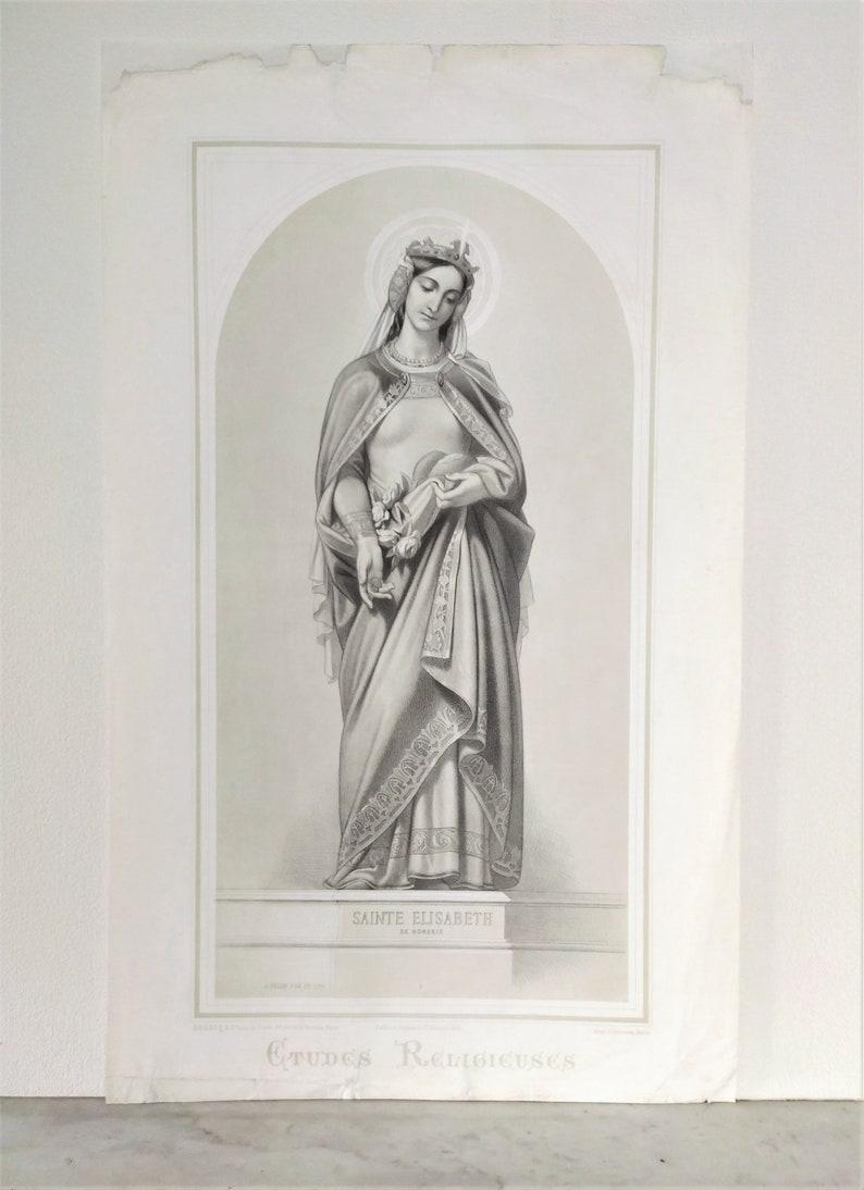 Joseph Felon/'s Religious Painting 1861 French Antique Etching Portrait of Saint Elizabeth