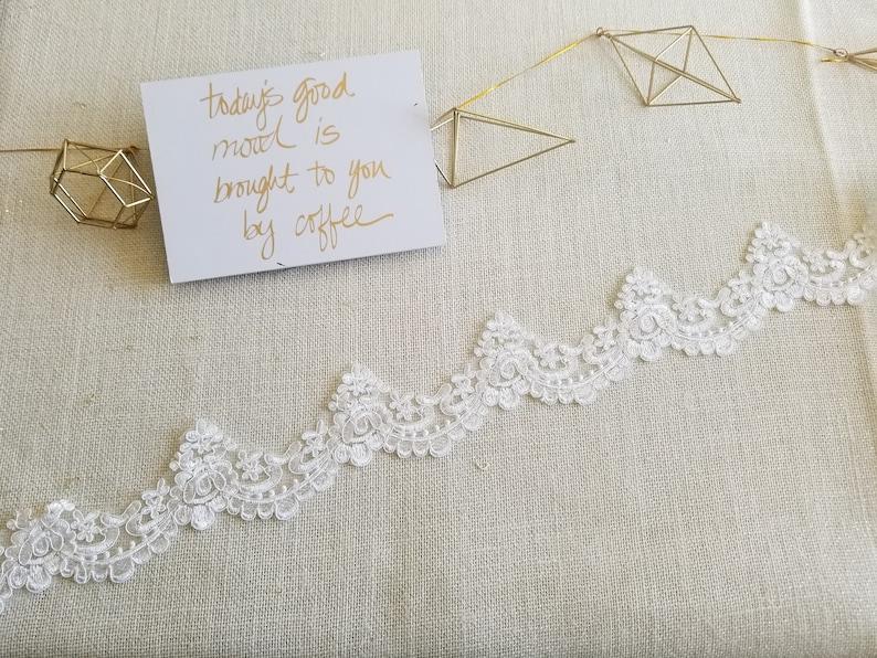 Sell By Yard Bridal Alencon Lace Trim Ivory Bridal Lace Trim Etsy