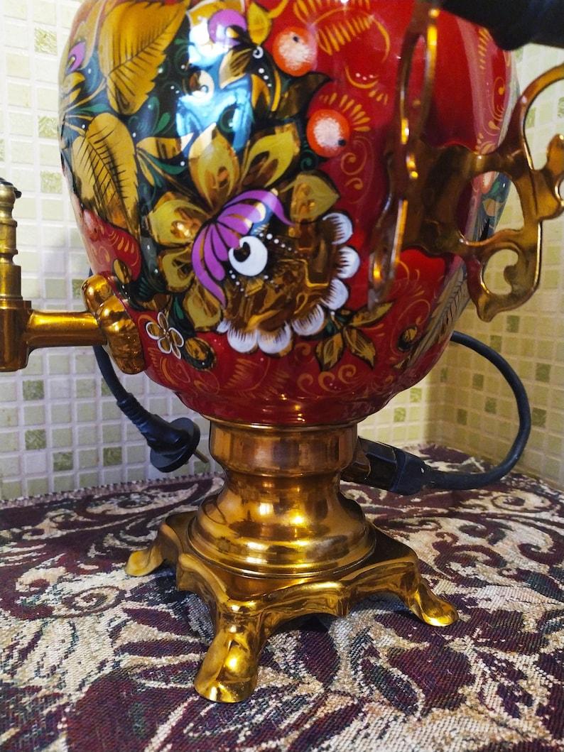 Tula samovar hand painted samovar,antique painted samovar,Tea ceremony samovar,Rare color Made in Ussr New Electric samovar with passport