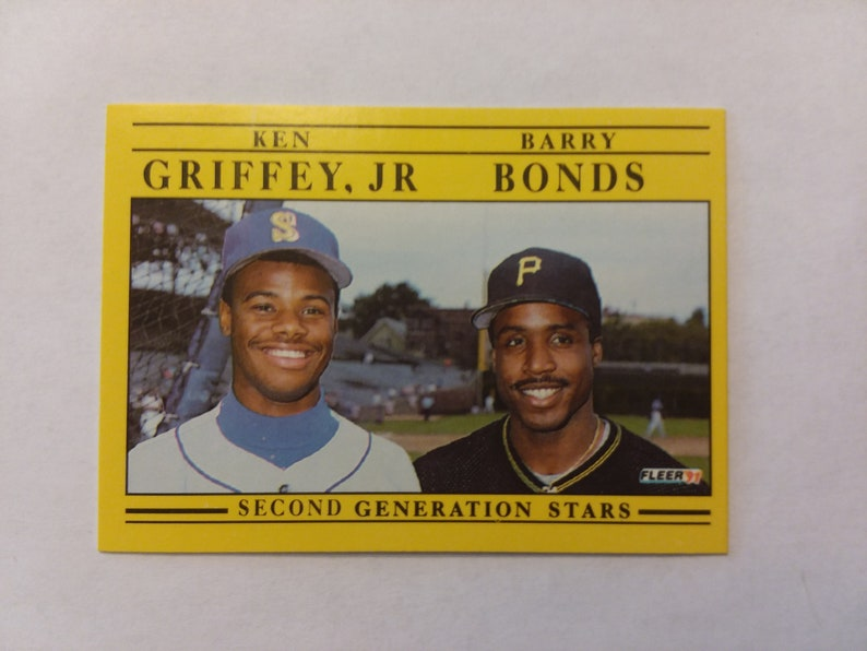 1991 Fleer Ken Griffey Jr And Barry Bonds Card In Near Mint Condition Stored In A Temperature And Humidity Controlled Room For 28 Years