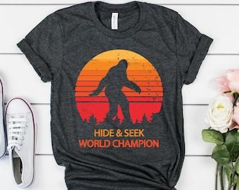 2152d6899 Hide and Seek World Champion Bigfoot Shirt Big Foot Sasquatch Yeti Urban  Legend TShirt Science Shirt For Men Women