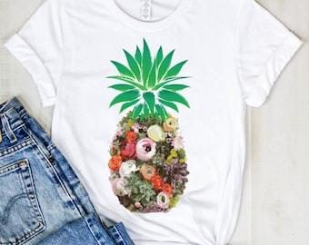 1f0f9b1e Floral Pineapple Aloha Summer Vegan Clothing For Men and Women   Pineapple  TShirt   Vegetarian T Shirt   Beach TShirt