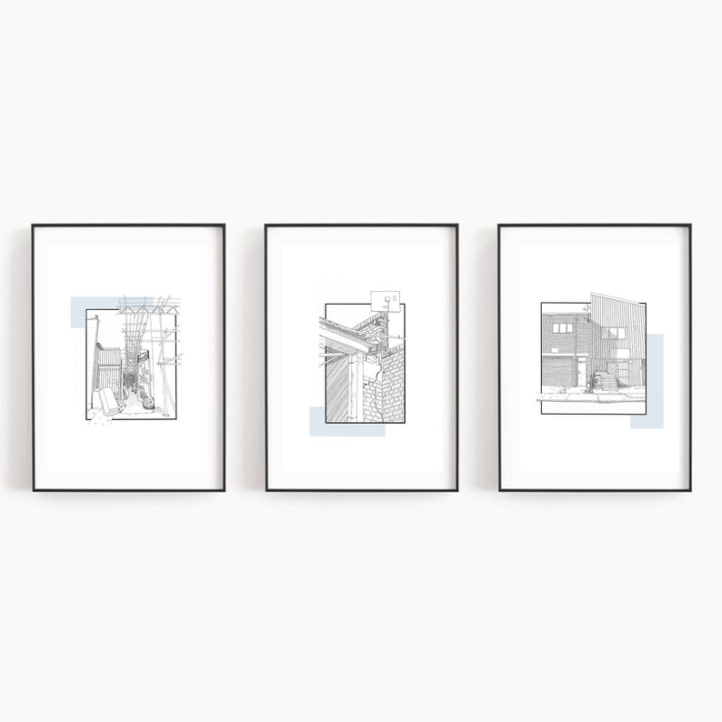 Line drawing Print from Bermondsey Pen line architecture drawing London Industrial Urban Architecture