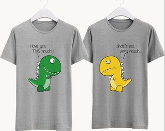 d386c9ea7c Dinosaur Couple Shirt. Fun Couple T-Shirt. His and Her Apparel. Matching Couple  Clothes. Couples Cute Outfit