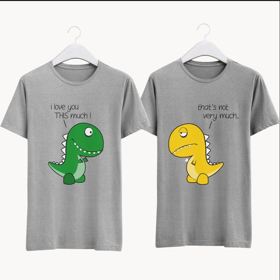 Dinosaur Couple Shirt. Fun Couple T Shirt. His and Her Apparel. Matching Couple Clothes. Couples Cute Outfit