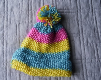0bbe4218fbe Multi Colored Hand Crocheted Hat with Pom Pom