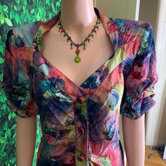 Voluptuous Carole Little Floral Maxi Dress with un