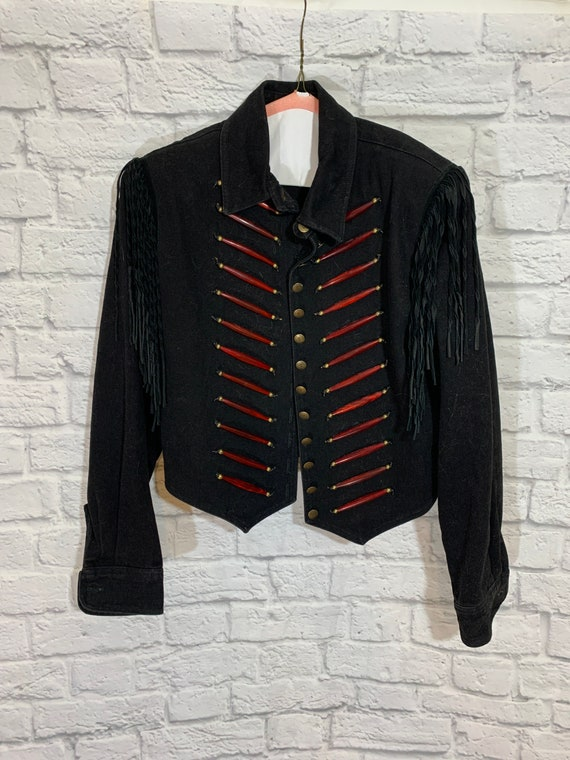 Beaded and Fringed Western Jean Jacket