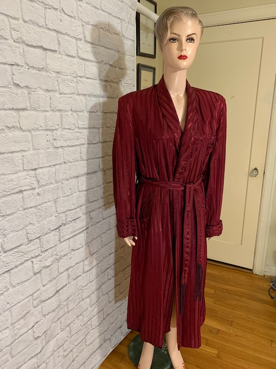 Luxury Burgundy Satin Robe Old