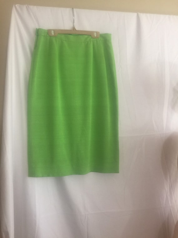 Mary McFadden green silk skirt